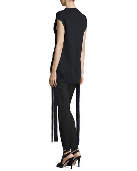 Cap-Sleeve Knit Ribbon-Trim Top, Black