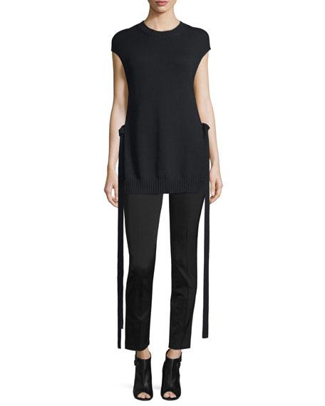 Joseph Cap-Sleeve Knit Ribbon-Trim Top, Black