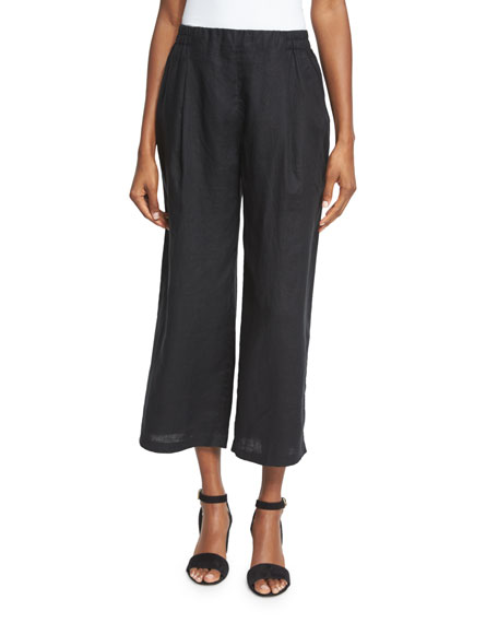 Eileen Fisher Organic Linen Wide-Leg Cropped Pants