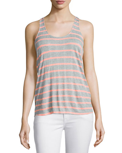 Huntington Racerback Striped Tank, Heather Gray/Sunkissed