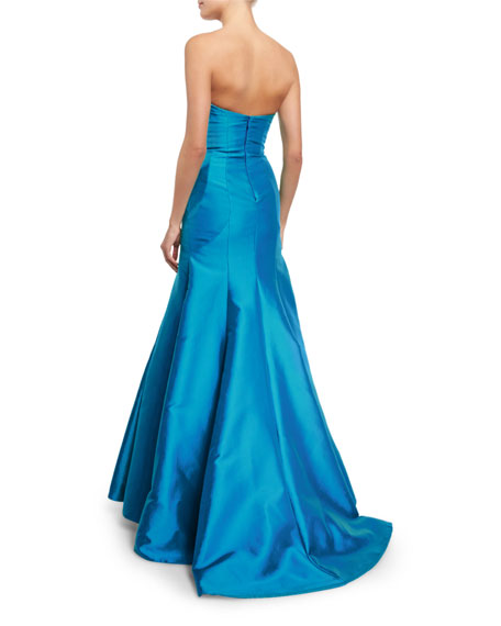 Strapless Sweetheart-Neck Gown, Ocean Blue