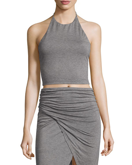 Alice + Olivia Jaymee Cropped Halter Top, Heather