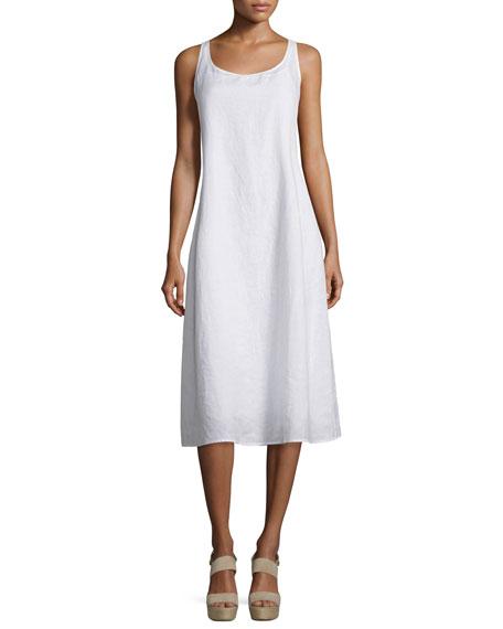 Eileen Fisher Sleeveless Linen Scoop-Neck Tank Dress, Petite