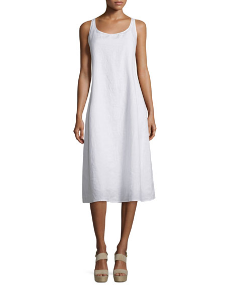 Eileen Fisher Sleeveless Linen Scoop-Neck Tank Dress, Plus Size