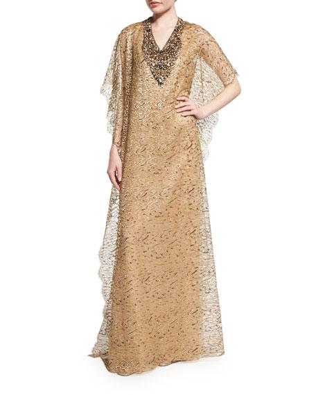 V-Neck Embellished Leopard-Print Caftan, Gold