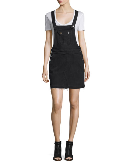 7 For All Mankind Denim Overall Dress, Black