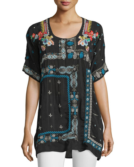 Johnny Was Collection Danny Short-Sleeve Embroidered Blouse,