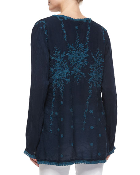 Vine Embroidered Georgette Tunic