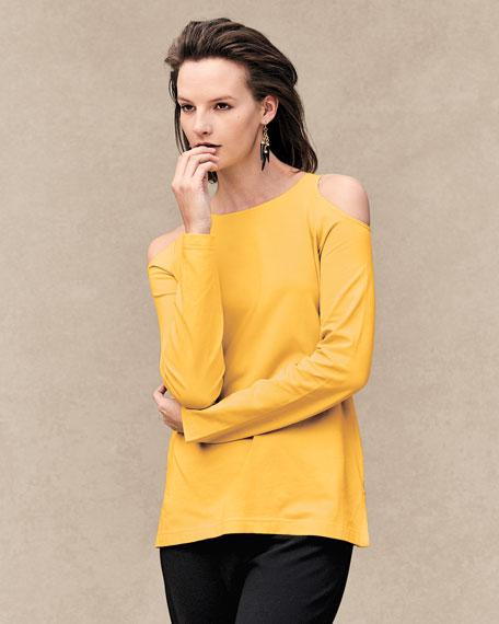 Cold-Shoulder Long-Sleeve Top, Petite