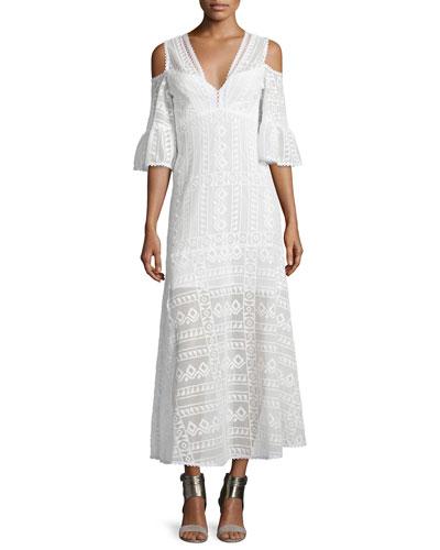 Cold-Shoulder Cotton Lace Midi Dress