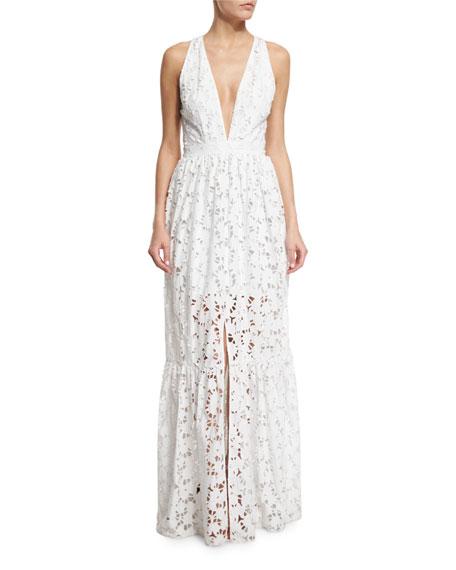 Sleeveless Plunging V-Neck Tiered Maxi Dress, Ivory