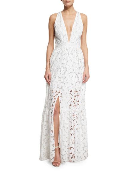 Sachin & Babi Noir Sleeveless Plunging V-Neck Tiered Maxi Dress, Ivory