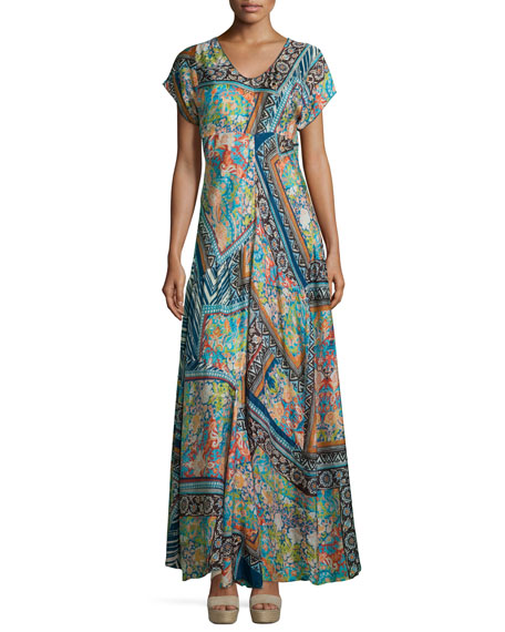 Roseton Short-Sleeve Printed Maxi Dress, Multi Colors