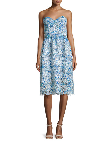 Parker Azalea Strapless Sweetheart-Neck Lace Dress, Glacius Brocatto