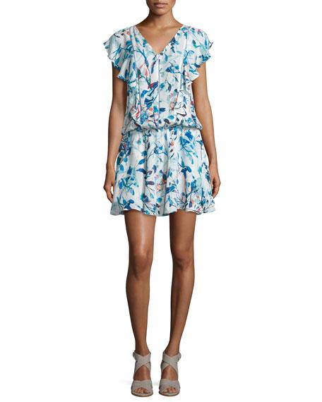 Parker Lana Flutter-Sleeve Blouson Dress, Catalonia