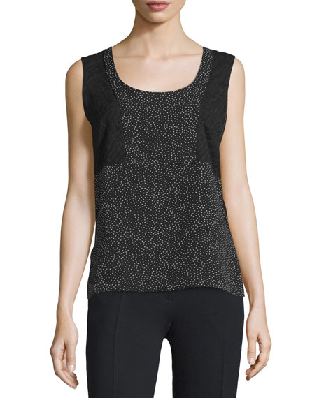 Sleeveless Scoop-Neck Combo Top, Multi