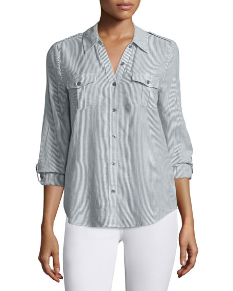 Joie Dumas Striped Button-Down Top