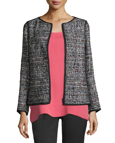 Keaton Tweed Zip-Front Jacket, Black Multi