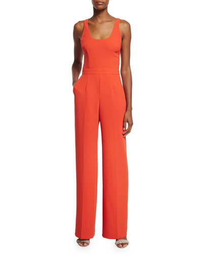 Sleeveless Scoop-Neck Jumpsuit