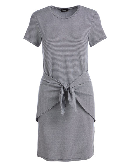 theory dakui narrow tie front t shirt dress