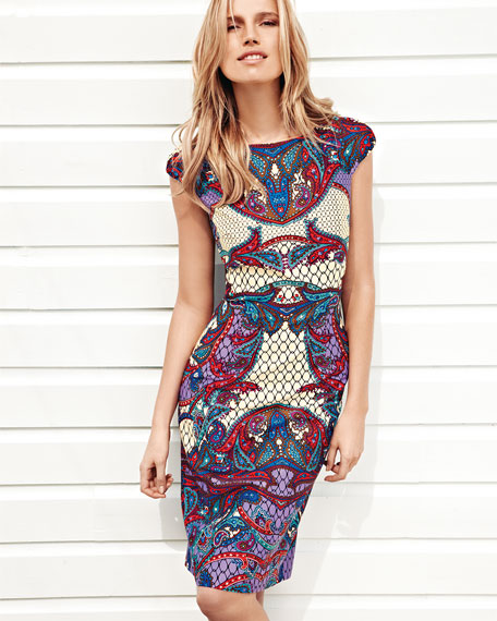 Printed Cap-Sleeve Sheath Dress
