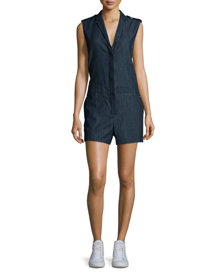 Rag & Bone Gigi Sleeveless Chambray Romper, Indigo