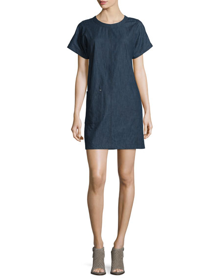 Rag & Bone Ryder Short-Sleeve Chambray Shift Dress,