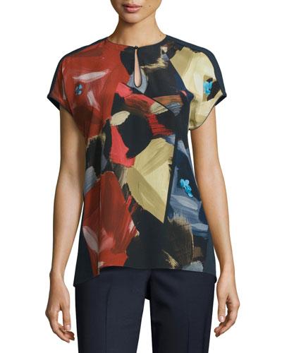 Zane Short-Sleeve Painterly Silk Blouse, Ink Multi