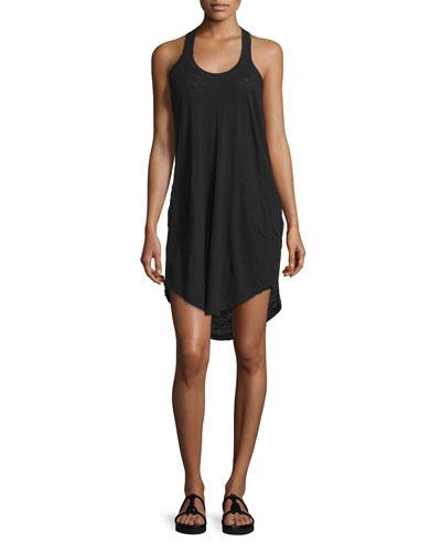 Y-Back Mini Jersey Dress, Black