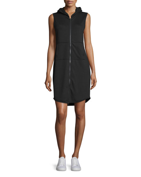 Elie Tahari Serena Sleeveless Hooded Zip-Front Dress