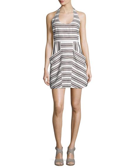 A.L.C. Hudson Striped Halter Dress, Ivory/Black