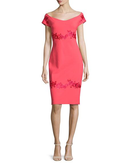 Tasha Off-the-Shoulder Floral-Embroidered Sheath Dress