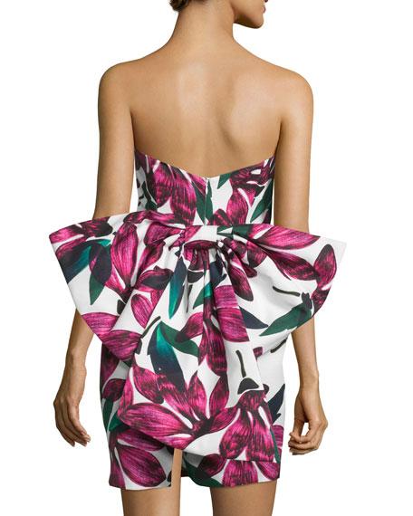Milly Strapless Floral-Print Dress w/Oversized Bow Fucshia