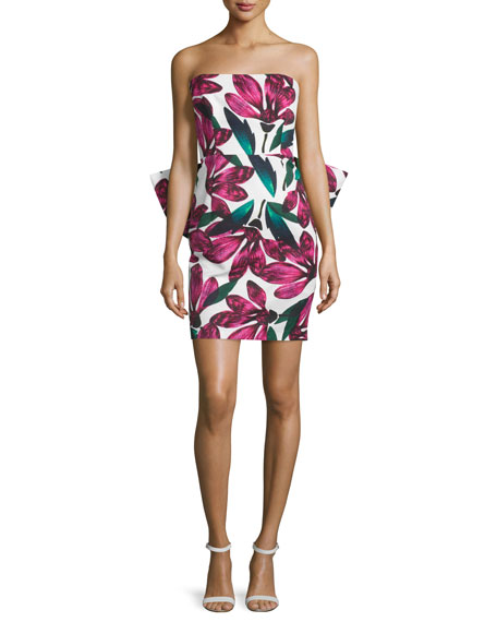 Milly Strapless Floral-Print Dress w/Oversized Bow, Fucshia