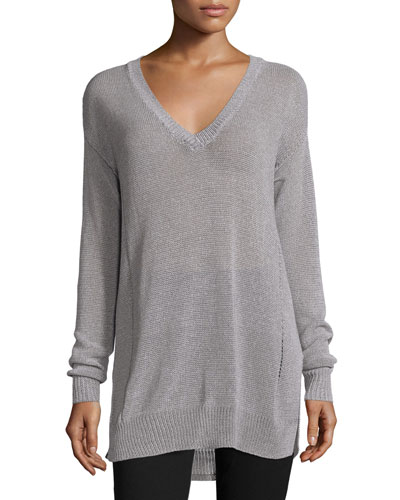 Gauge-Knit V-Neck Sweater, Cement/Grout