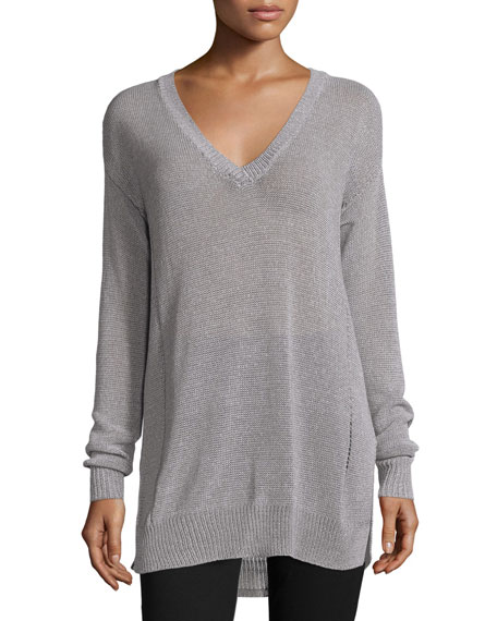 ATM Anthony Thomas Melillo Gauge-Knit V-Neck Sweater,