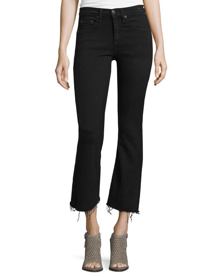 enjoy discount price color brilliancy 100% quality quarantee Mid-Rise Cropped Flare-Leg Jeans, Black Coal