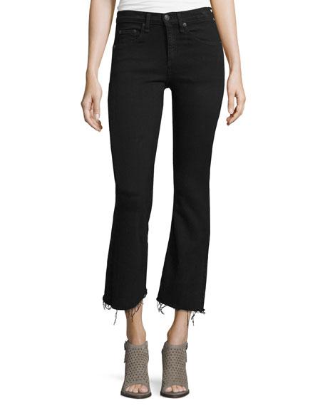 rag & bone/JEAN Mid-Rise Cropped Flare-Leg Jeans, Black