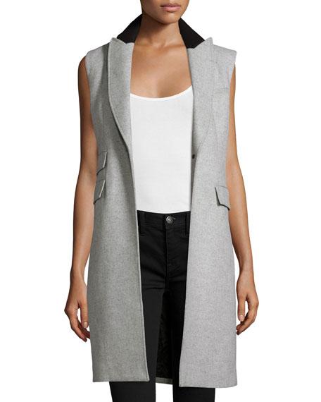 Veronica Beard Palmer Long Sleeveless Vest, Heather Gray
