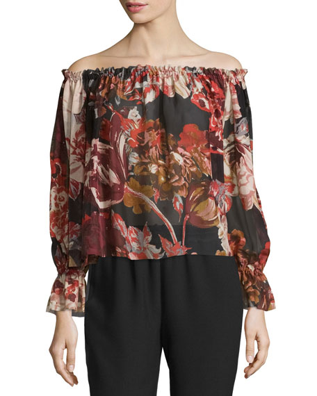 Elizabeth and James Remi Printed Silk Off-the-Shoulder Top,