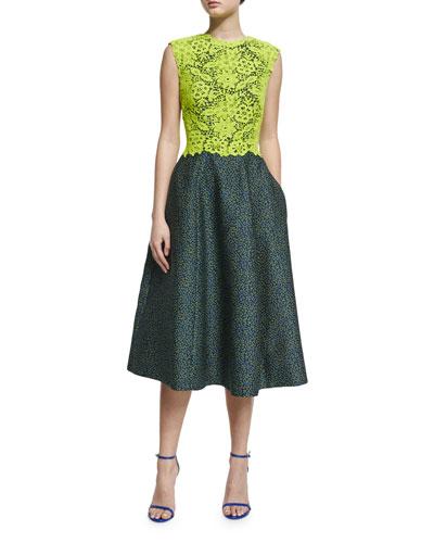 Sleeveless Colorblock Combo Dress, Chartreuse/Midnight