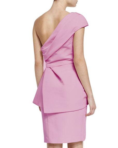 One-Shoulder Peplum Cocktail Dress, Blush