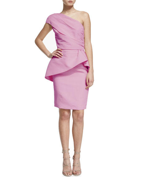 Monique Lhuillier One-Shoulder Peplum Cocktail Dress, Blush