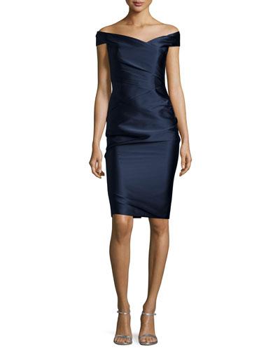 Off-The-Shoulder Cocktail Dress, Navy