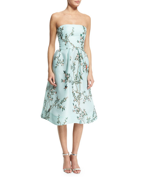Monique Lhuillier Strapless Bird-Print Fit-&-Flare Dress, Seafoam