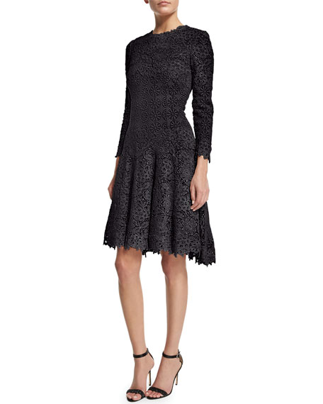 Monique Lhuillier 3/4-Sleeve Jewel-Neck Lace Dress, Midnight