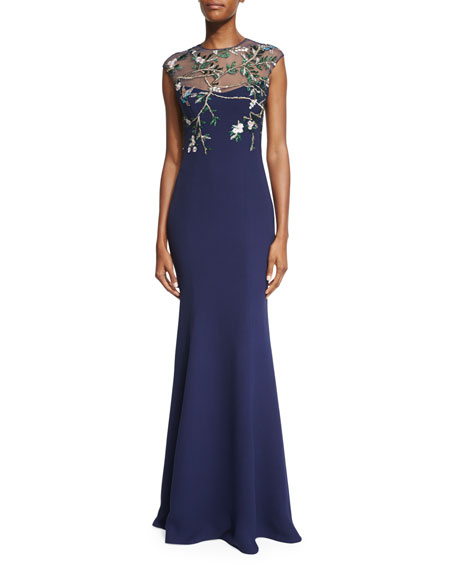 Monique Lhuillier Embroidered-Bodice Mermaid Gown, Navy