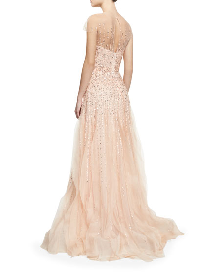 Short-Sleeve Beaded Tulle Illusion Gown, Blush