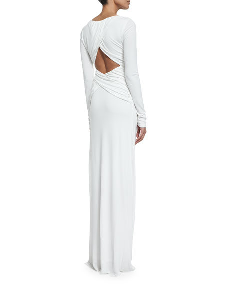 Ruched Long-Sleeve Column Gown, Ecru
