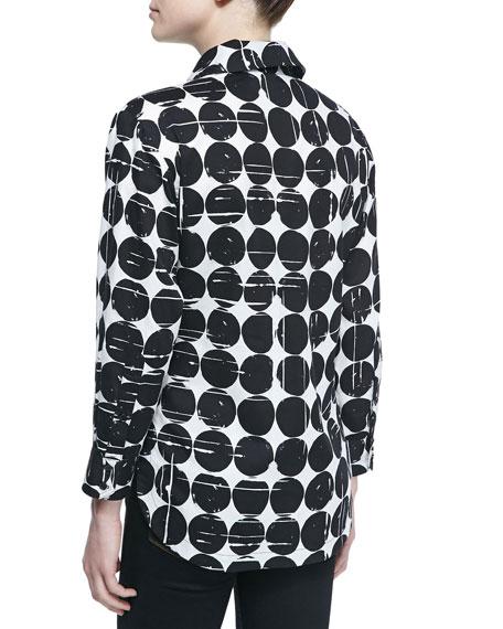 Poplin Polka-Dot Print Dress Shirt